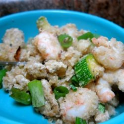 cauliflower rice with shrimp and zucchini